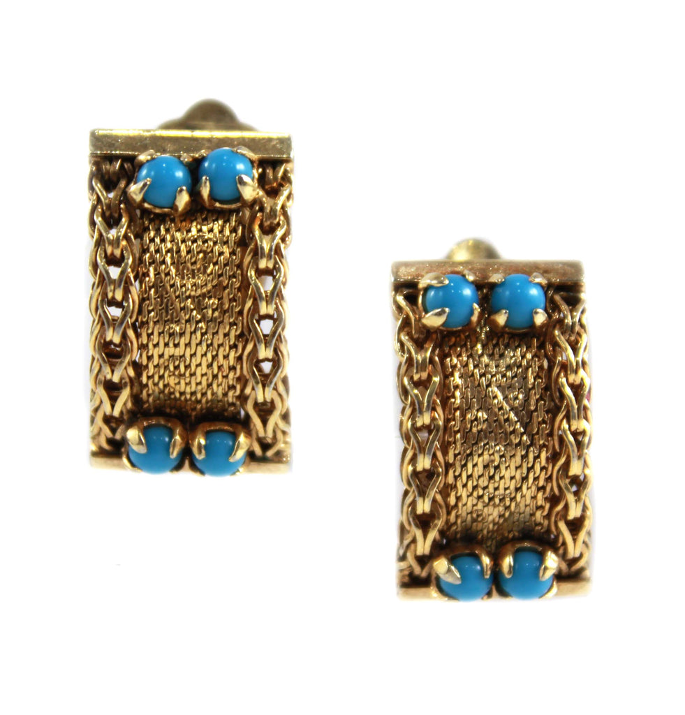 CHRISTIAN DIOR GOLD & TURQUOISE EARRINGS