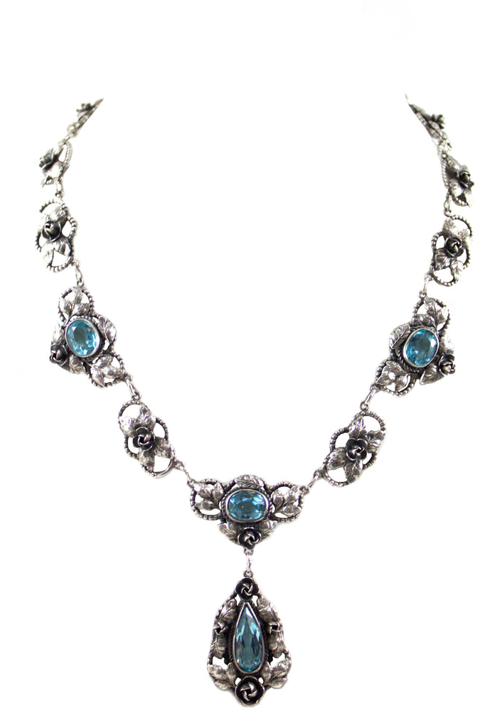 1940'S SILVER & TURQUOISE COLORED NECKLACE