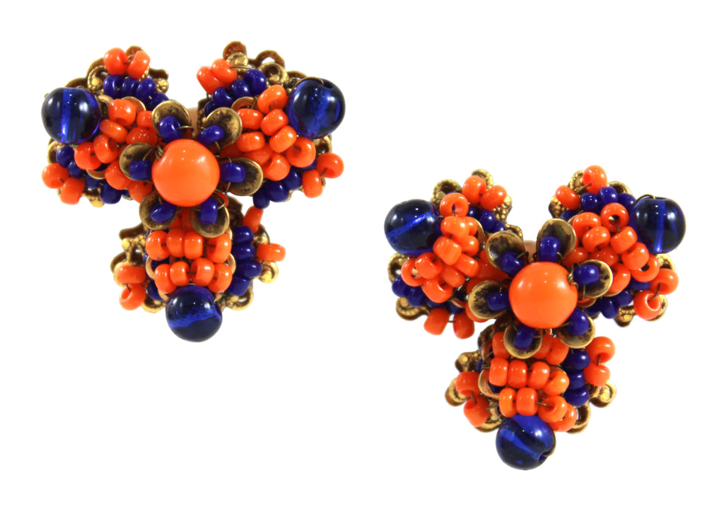 MIRIAM HASKELL ORANGE & BLUE EARRINGS