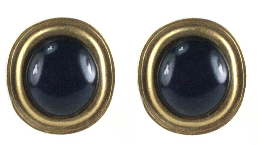 1980'S YSL DARK BLUE EARRINGS SET IN GOLD BASE METAL
