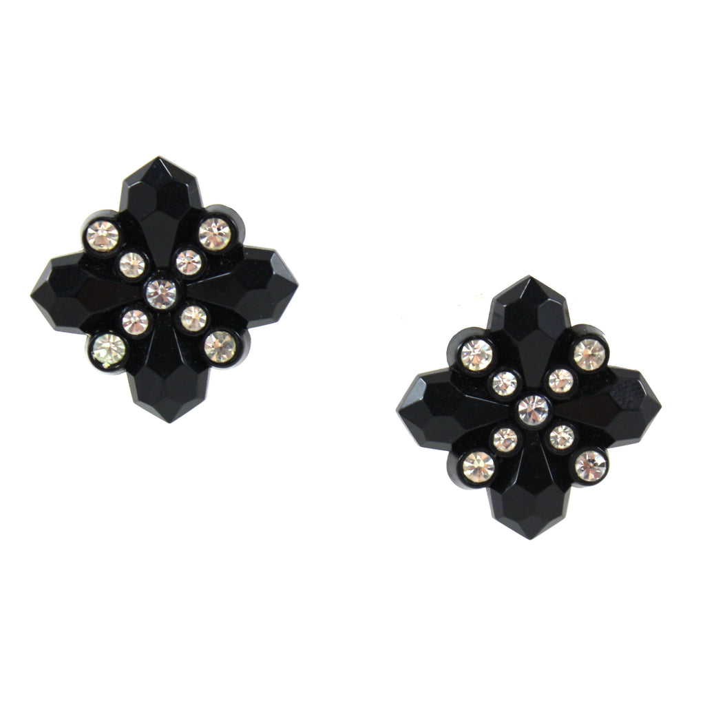 BLACK AND DIAMANTE EARRINGS