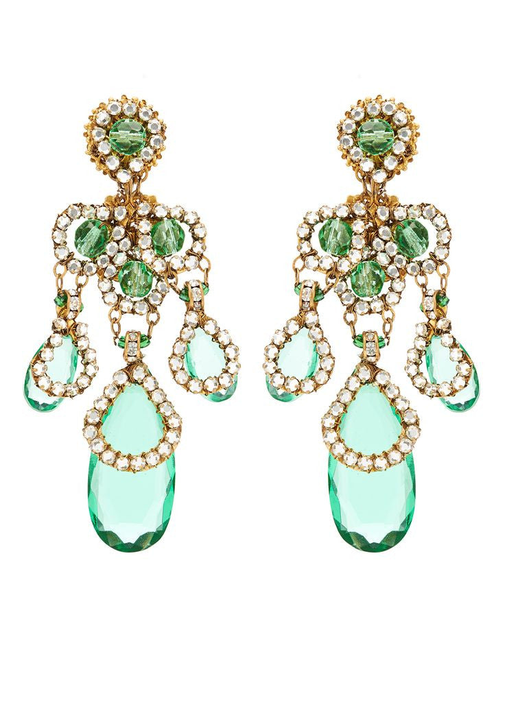 Miriam Haskell Green Chandelier Earrings