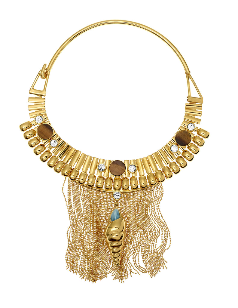 THE LURE OF THE SEA COLLECTION <br/> SHELLS FRINGE COLLAR