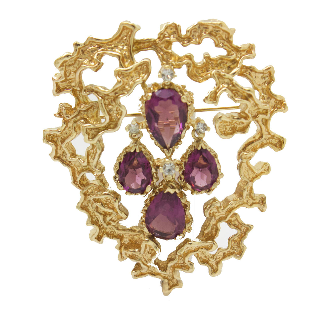 Panetta Gold and Amethyst Brooch