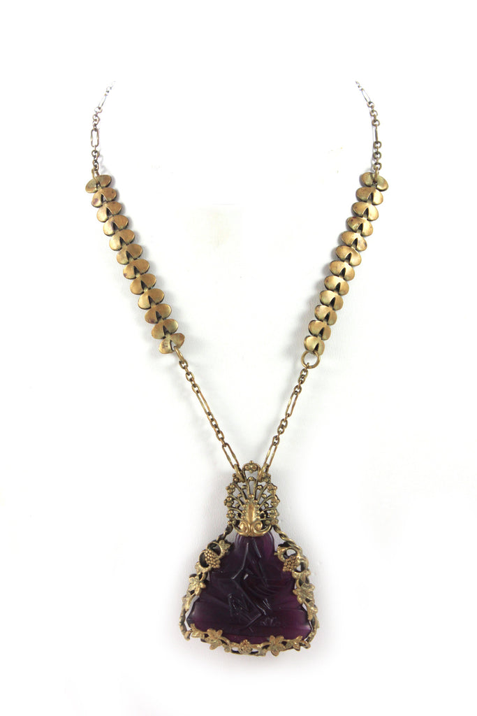 1930'S AMETHYST CRANE NECKLACE