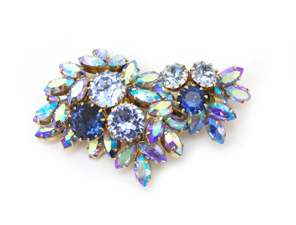 1950s Austrian blue crystal pin