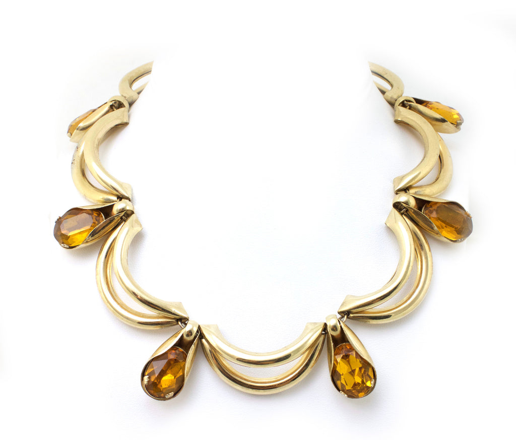 Napier festoon necklace with faceted amber cabochons