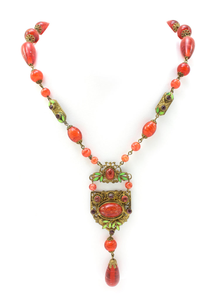 1920s Unsigned orange glass bead drop necklace