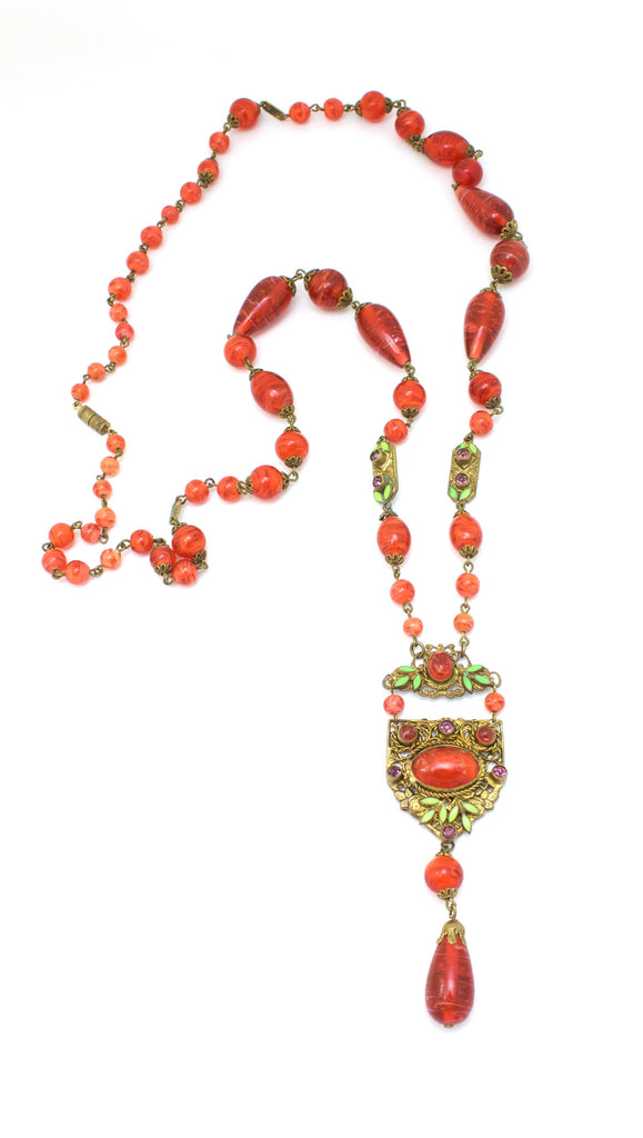 1920's Unsigned Orange Glass Bead Drop Necklace