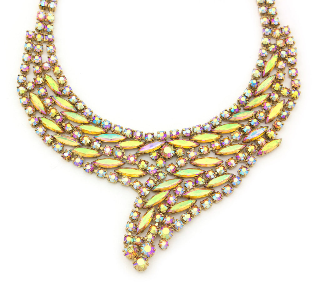 1950's Weiss crystal bib necklace