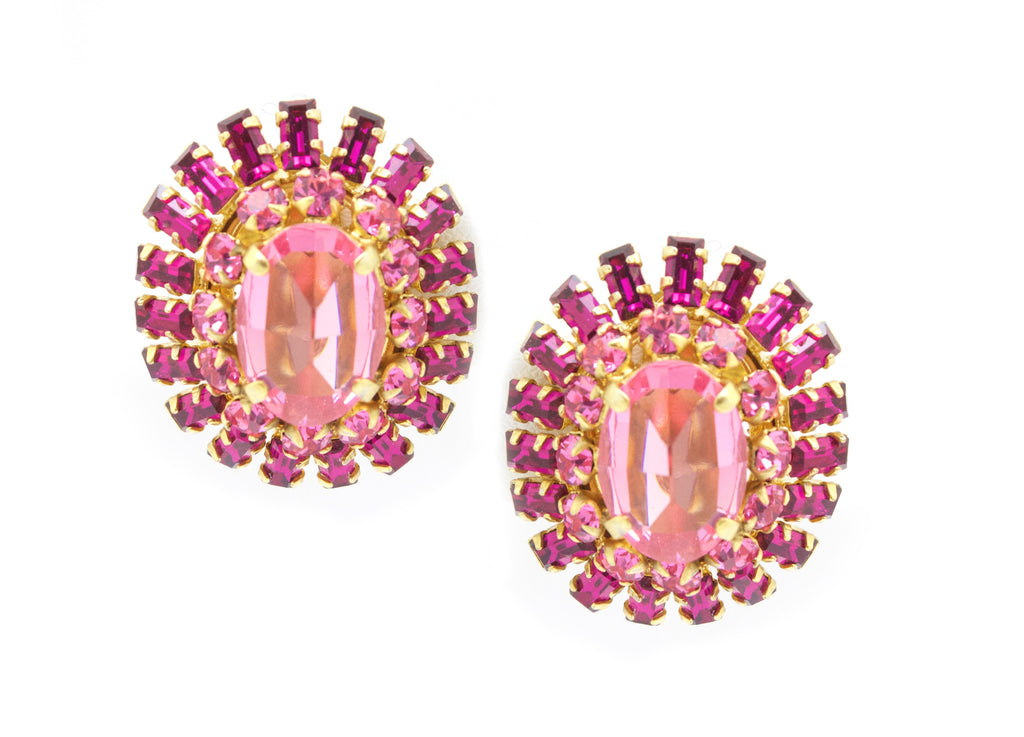 1950's Schreiner pink rhinestones earrings