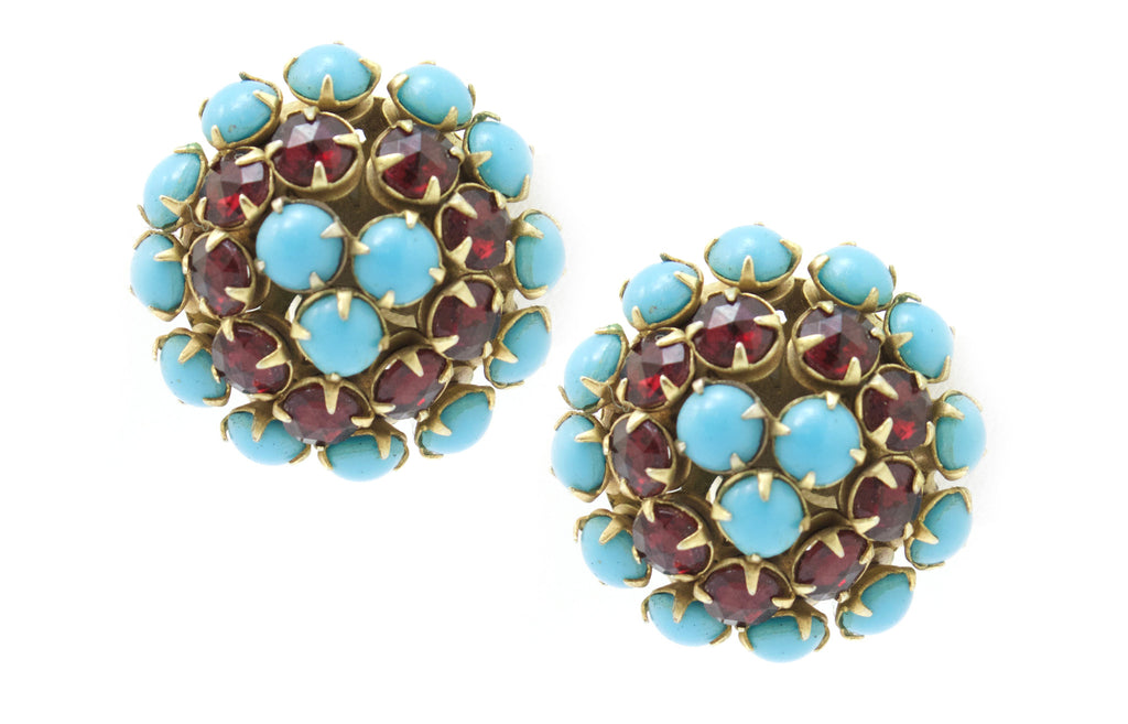 1950s Hattie Carnegie turquoise and ruby crystal earrings