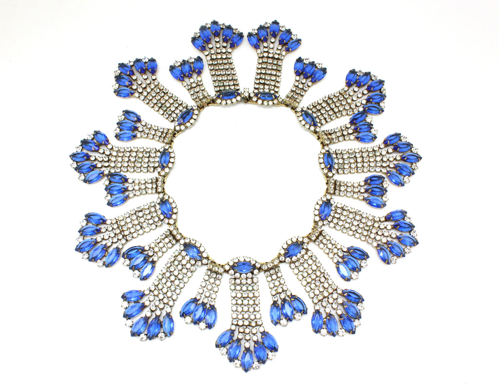 Kenneth Jay Lane statement blue and crystal collar