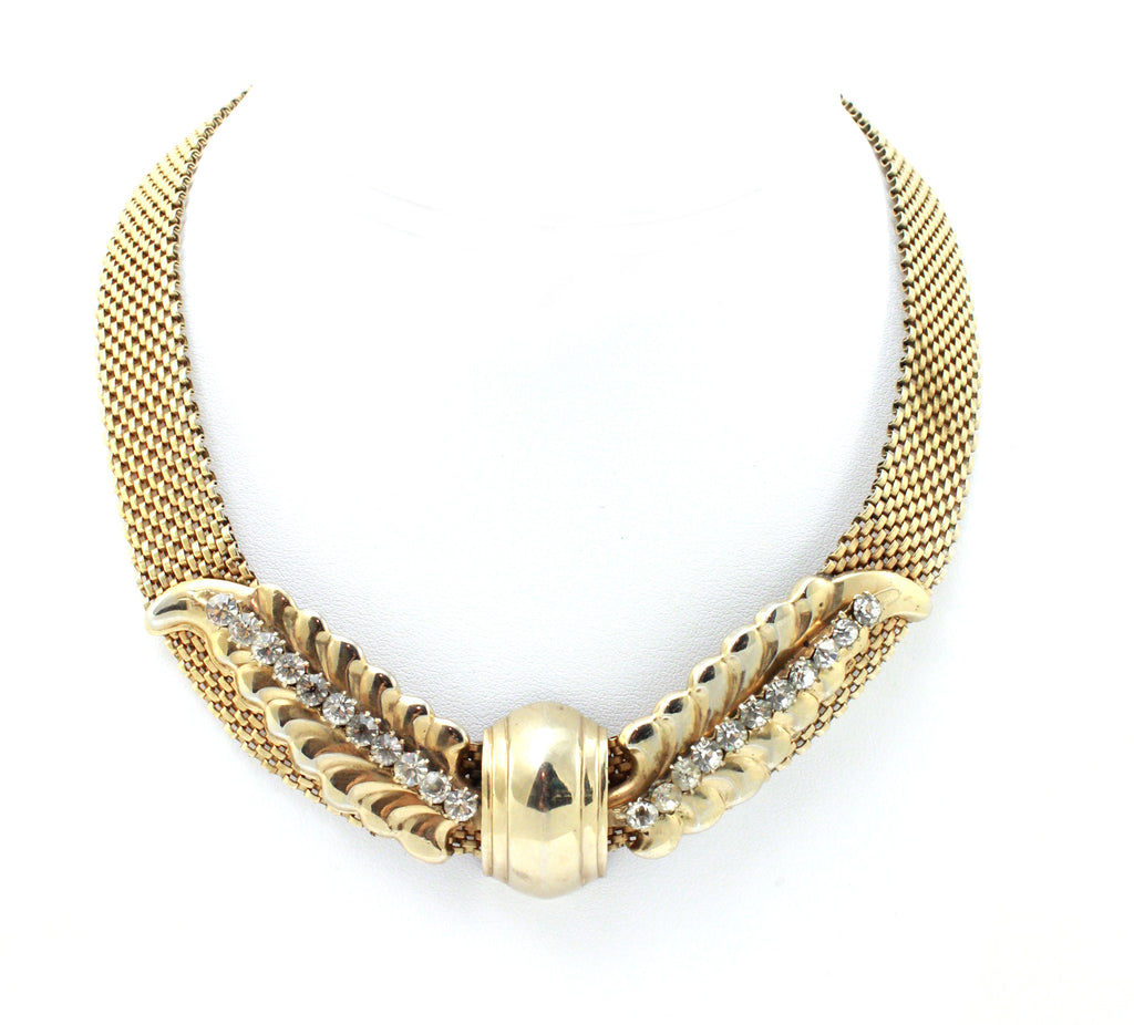 1950's Reinad gold mesh necklace with leaves and crystals
