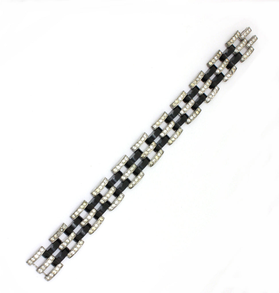 Art deco black and diamante chain link bracelet