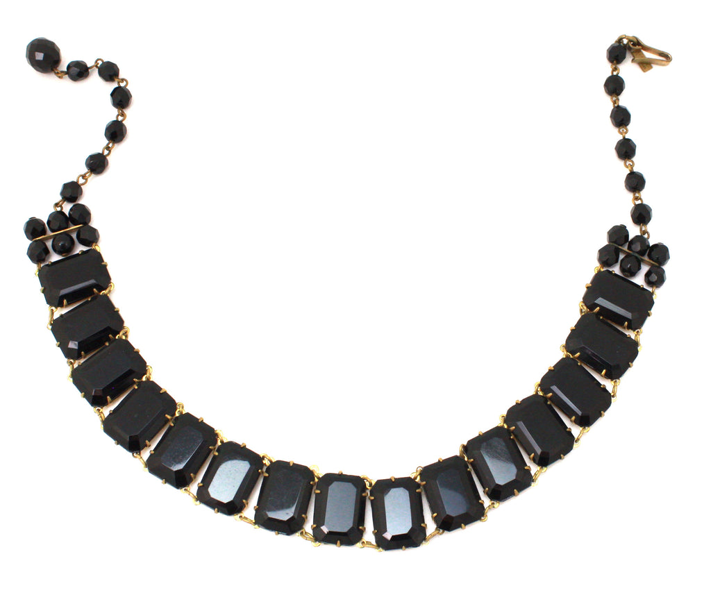 1960's Regina Fashion black glass choker