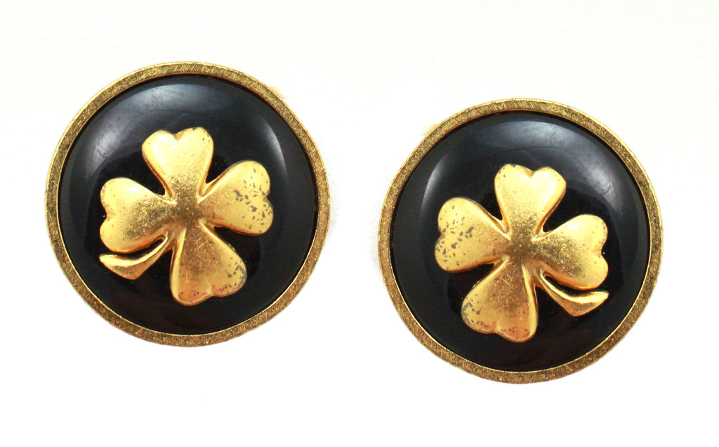 1980s Chanel gold four leaf clover earrings