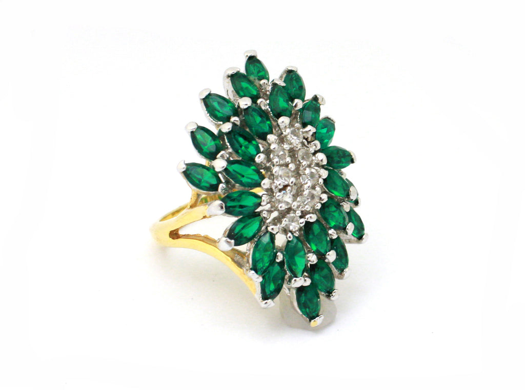 Faux emerald starburst ring