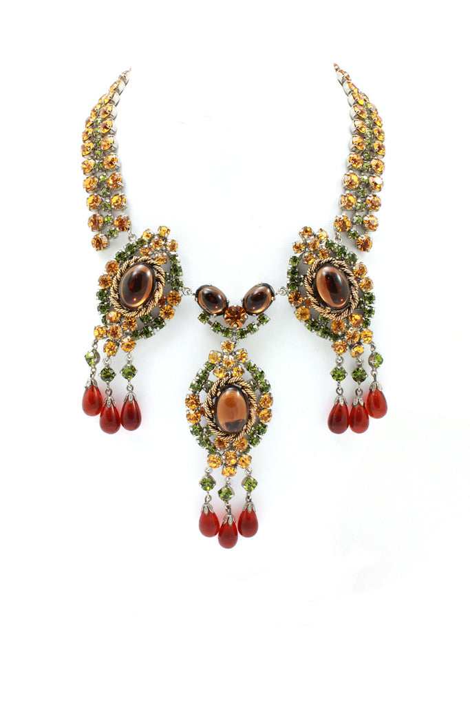 Austrian multi color crystal drop necklace
