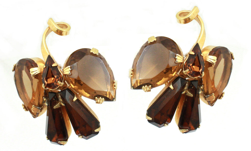 Smoky topaz bow earrings