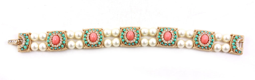 1960s Unsigned Pearl, Turquoise, and Coral Stone Bracelet