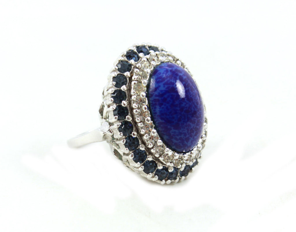 Signed Panetta Blue Cabochon Ring