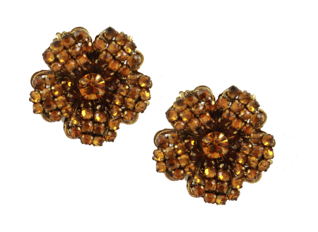 Signed Miriam Haskell Brown Flower Earrings