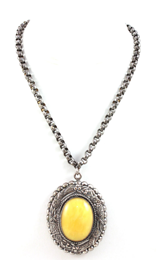 Unsigned Yellow Cabochon Pendant Necklace