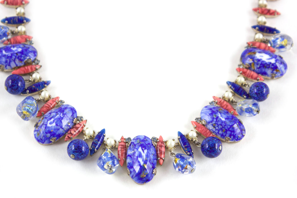 1950s Blue & Coral Necklace