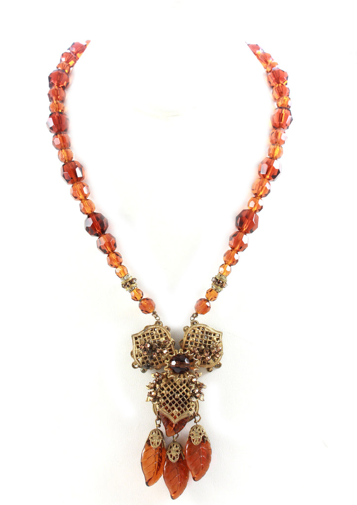 Miriam Haskell Brown Filigree Necklace