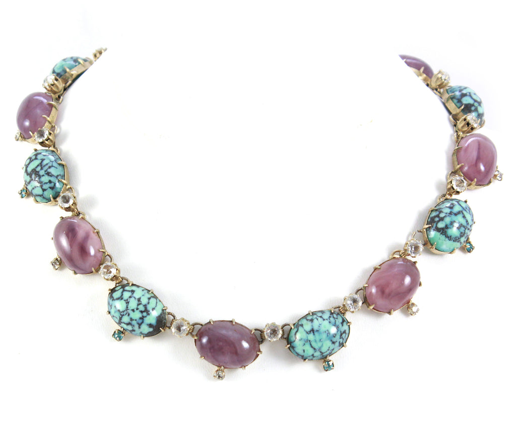 1950's Purple & Turquoise Necklace