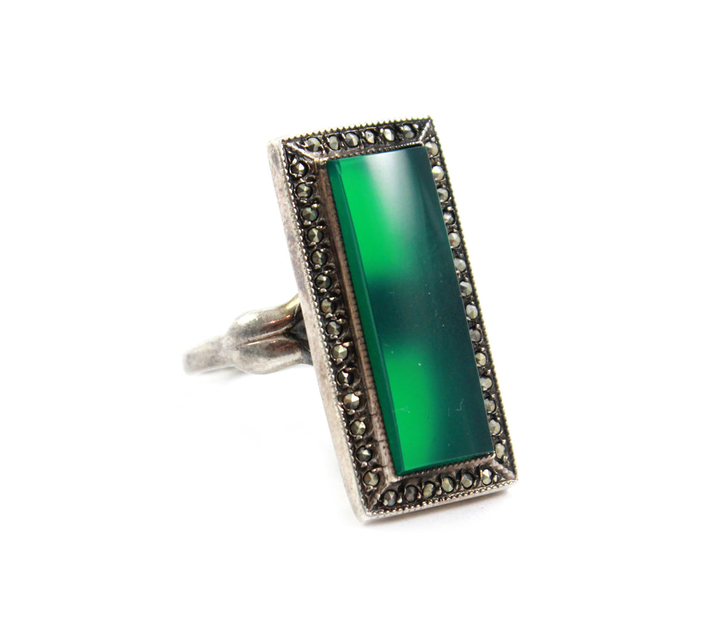 Chrysoprase and Marcasite Ring