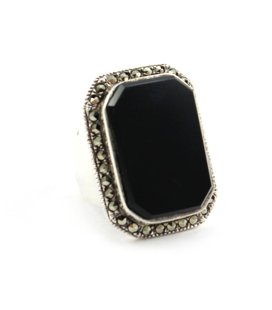 Onyx & Marcasite Ring