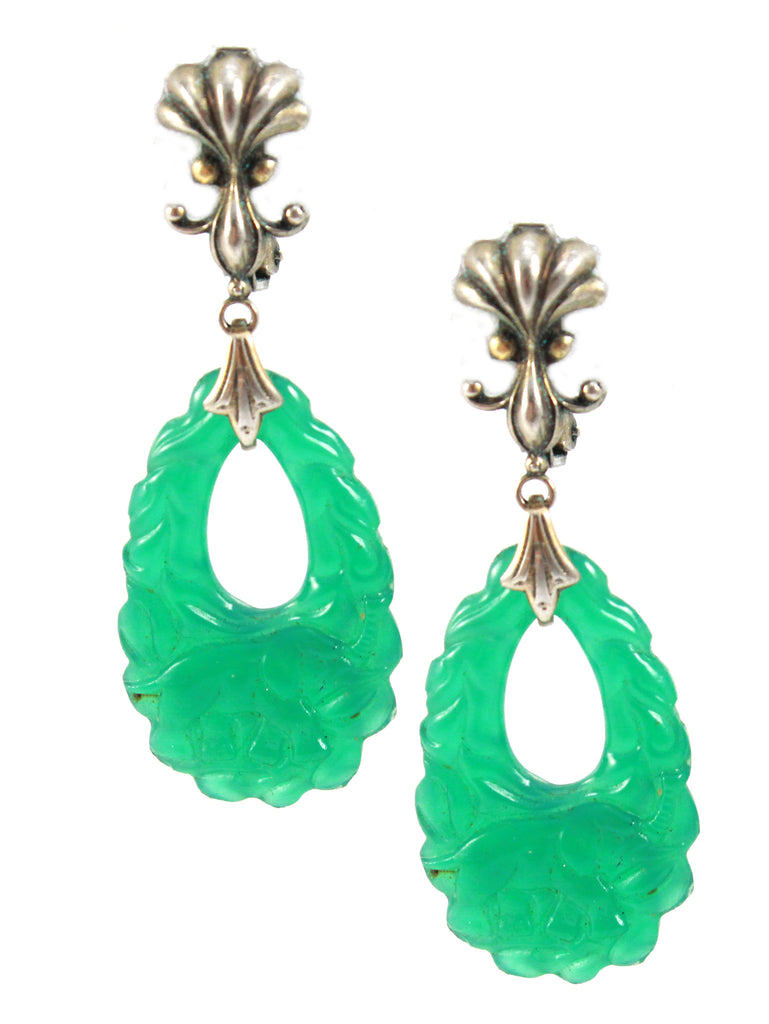 1940'S JADE EARRINGS