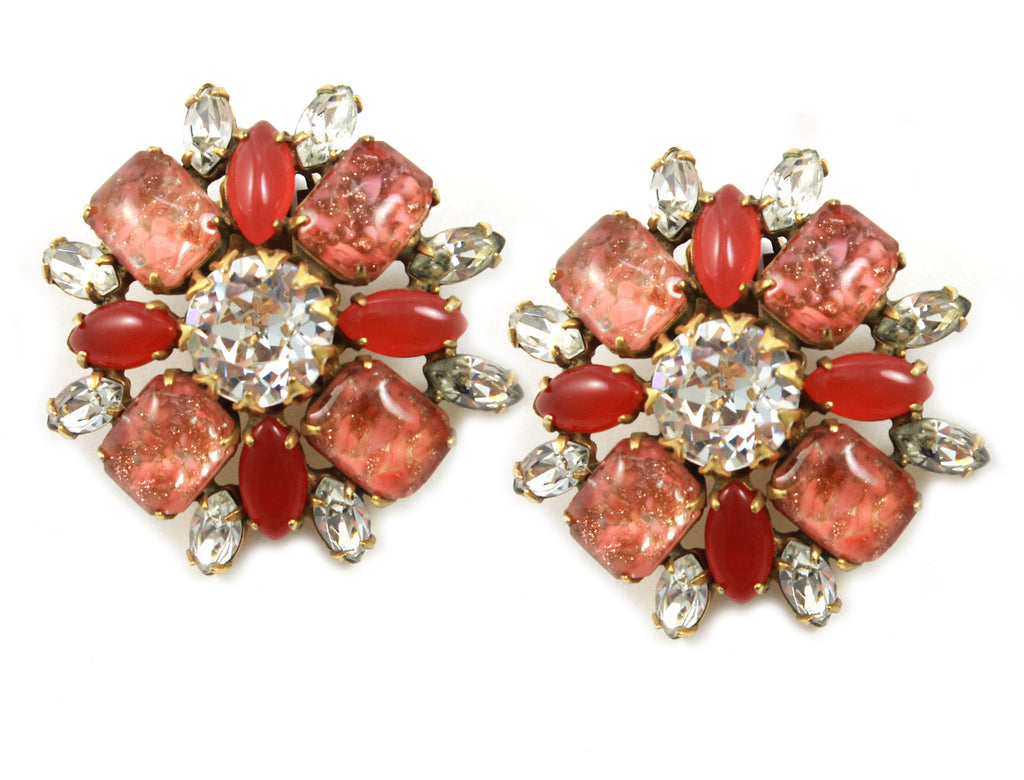 1950's Schreiner Coral Earrings