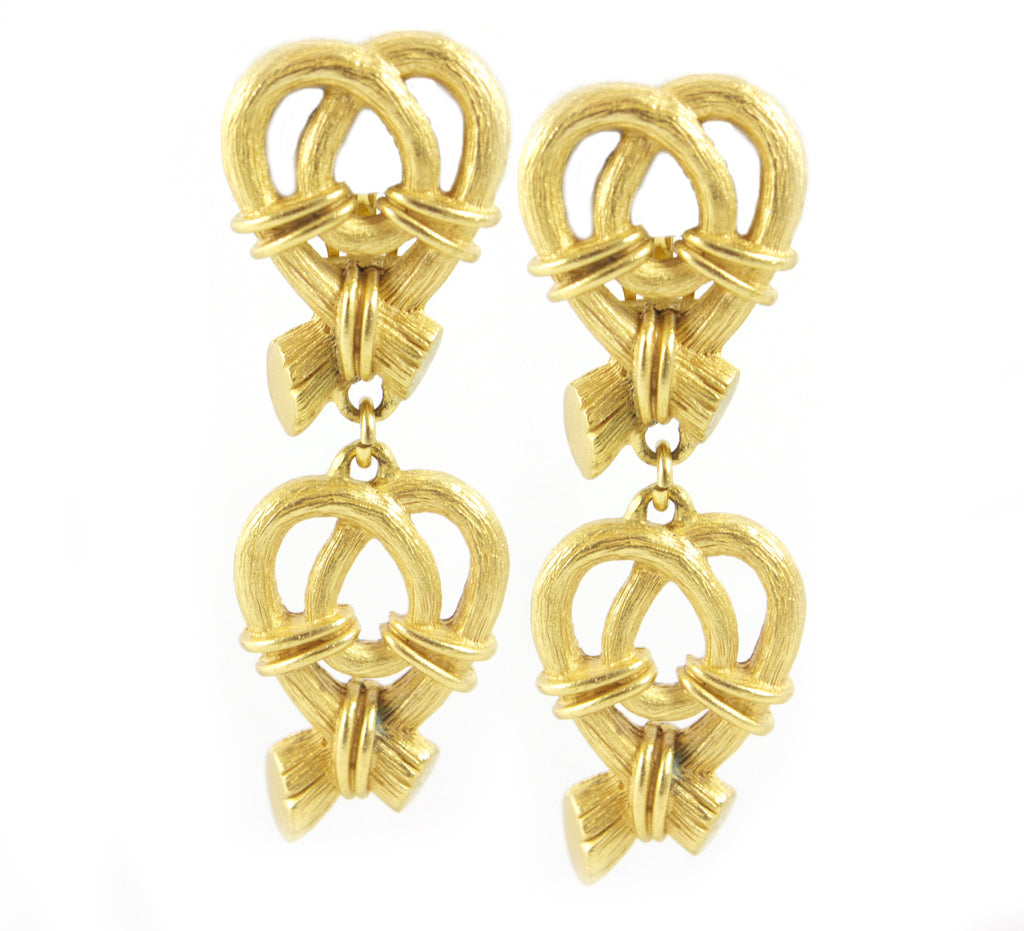 Escada Abstract Heart Pendant Earrings