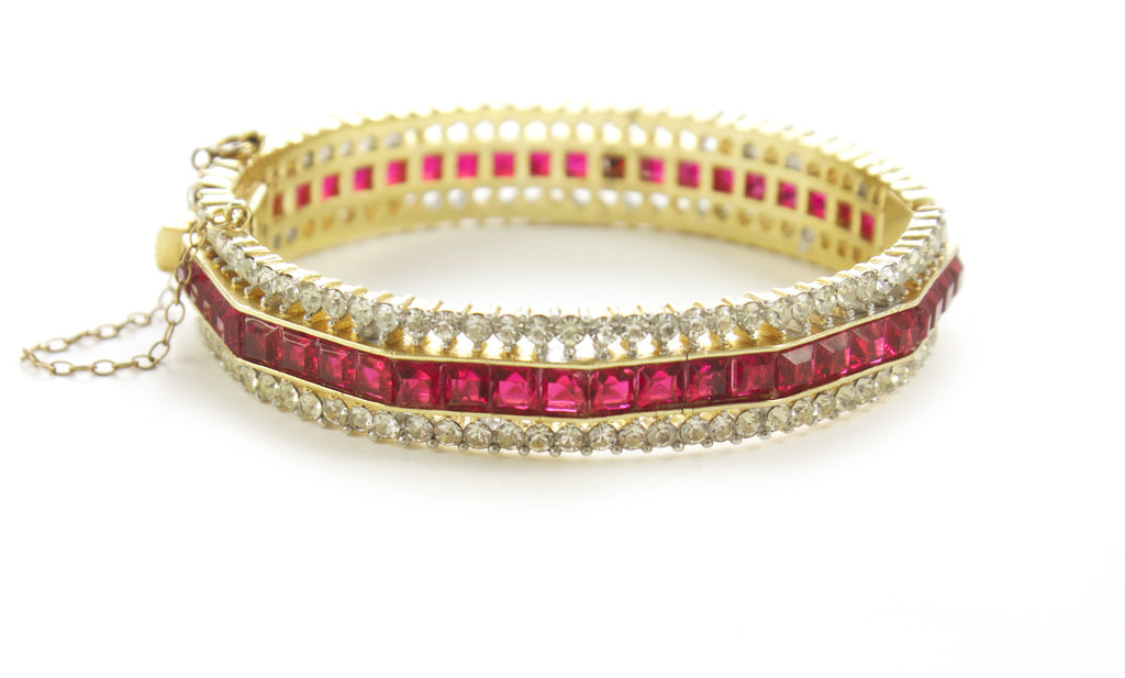 Trifari Red Bangle Bracelet