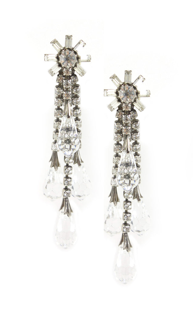 1950's Floral Crystal Earrings