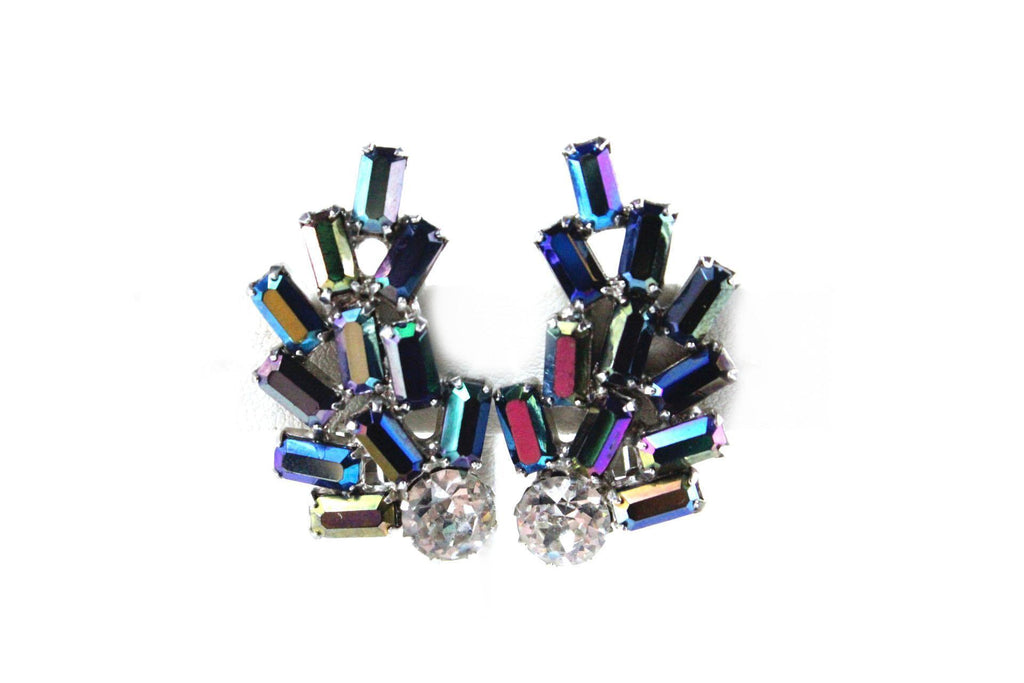 1950'S BLUE AURORA BOREALIS EARRINGS