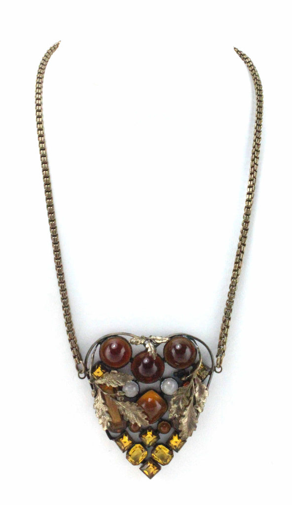 1930'S AMBER HEART NECKLACE