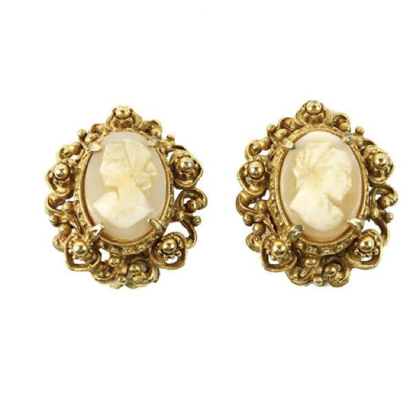 UNSIGNED GOLD CAMEO EARRINGS