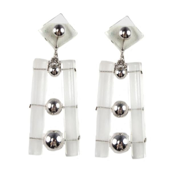 1970S LUCITE AND SILVER EARRINGS