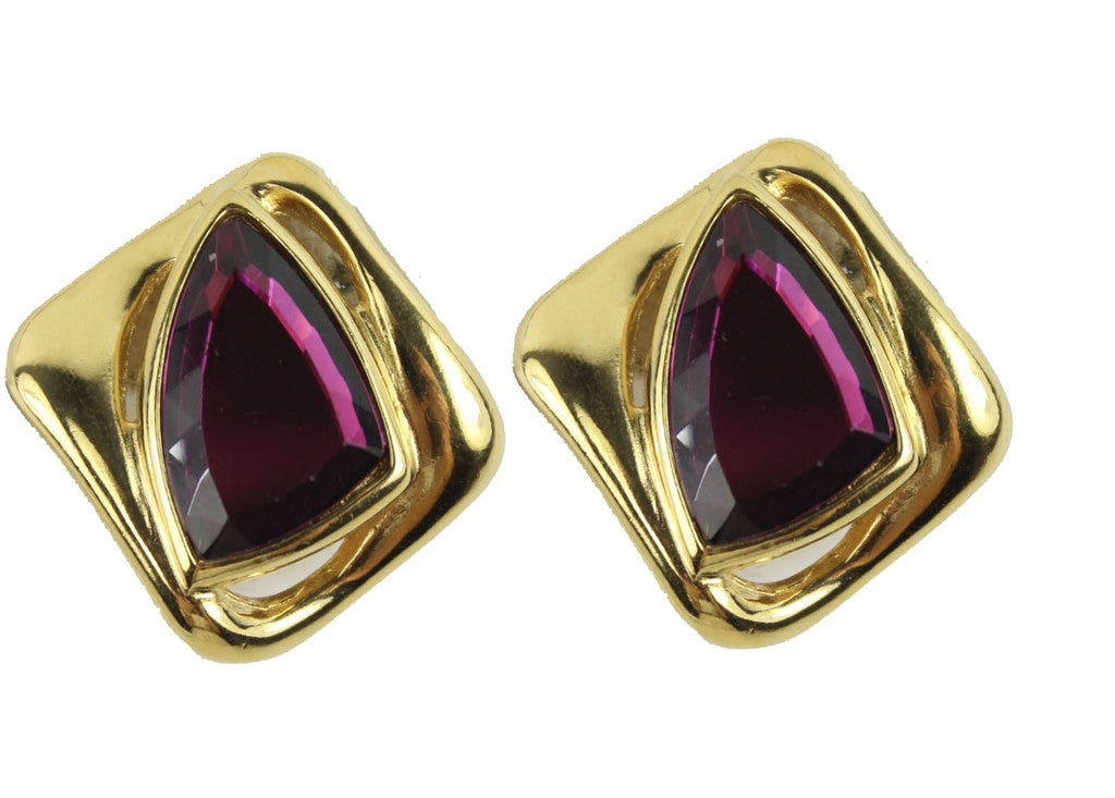 1980'S YVES SAINT LAURENT PURPLE EARRINGS