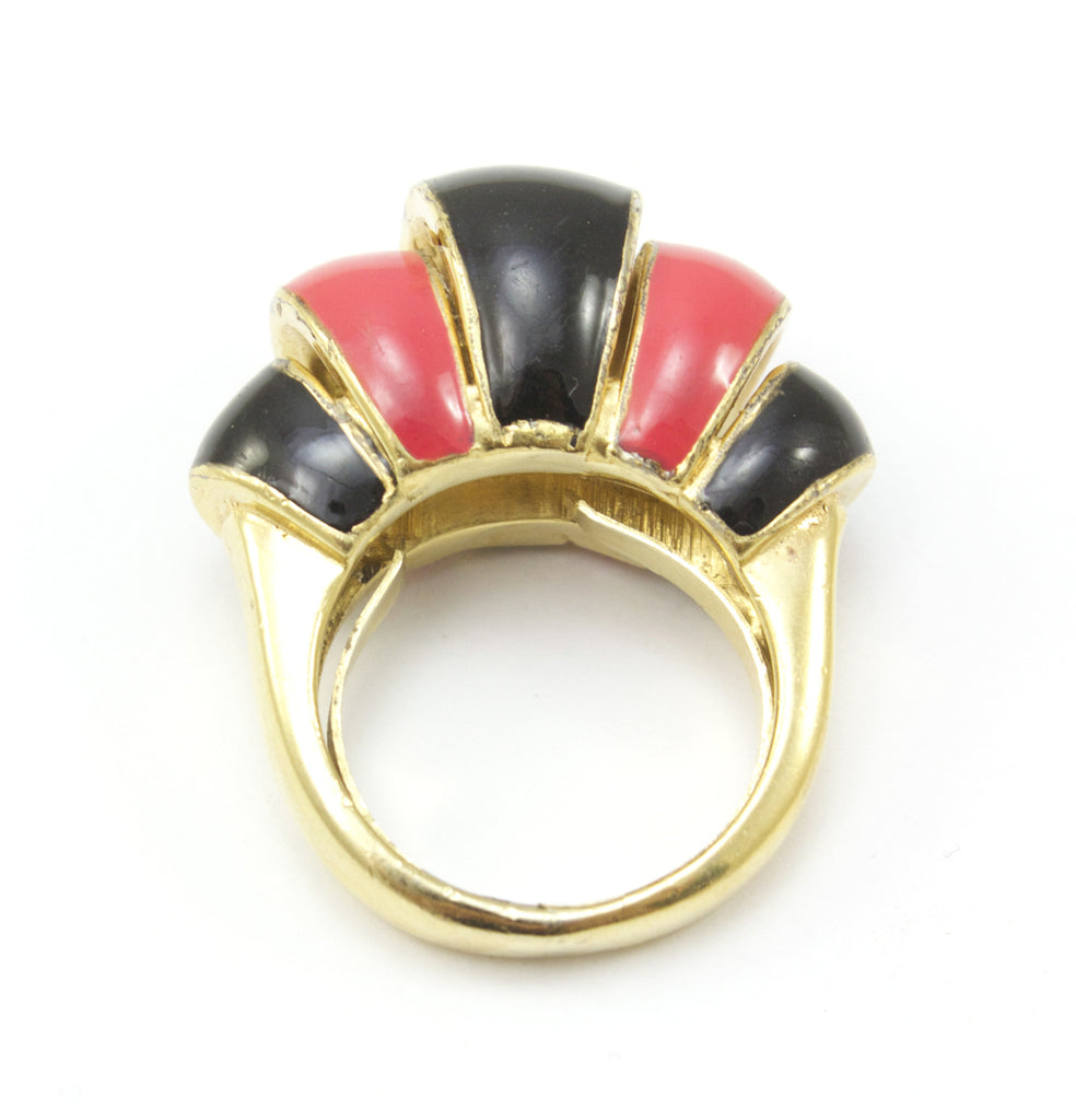 Black and Coral Enamel Ring