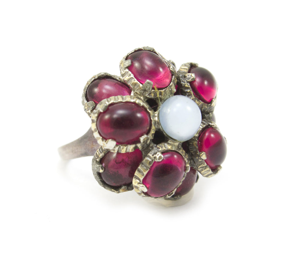 1950s Trifari red cabochons and moon stone ring