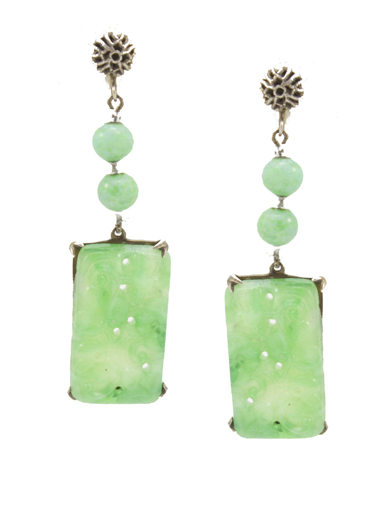1930's Carved Jade Earrings