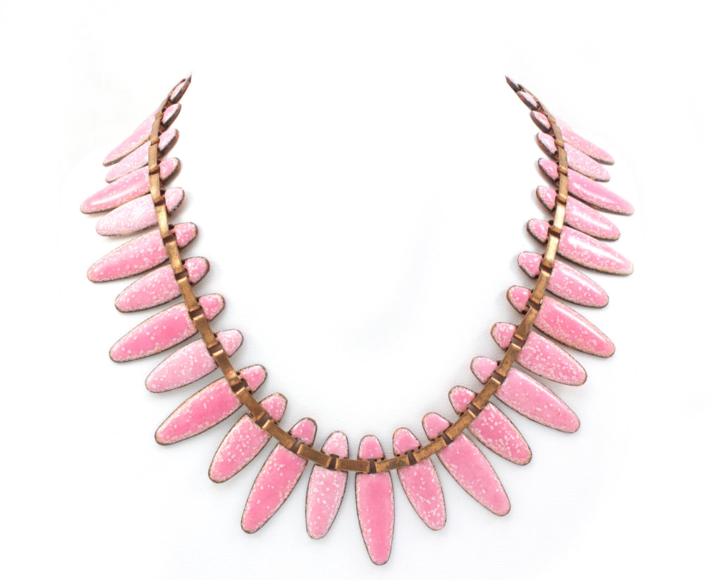1940s Matisse pink enamel necklace