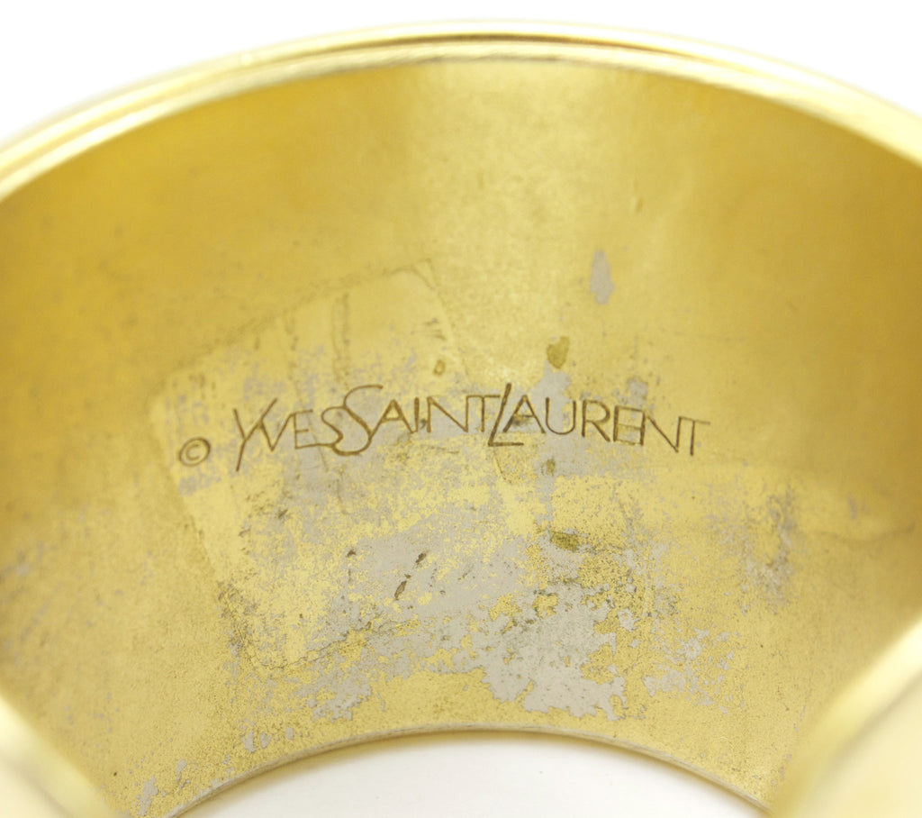 1970's YSL gold cuff with carnelian cabochons