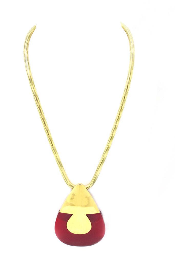 1970's Lanvin red lucite teardrop necklace