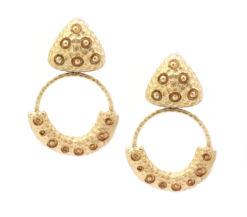 Yomal gold hoop textured earrings